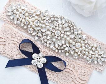 SALE Crystal pearl Wedding Garter Set, Stretch Lace Garter, Rhinestone Crystal Bridal Garters