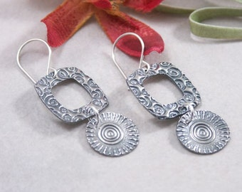 Artisan Handmade Sterling Silver Textured Earrings PMC Metal Clay