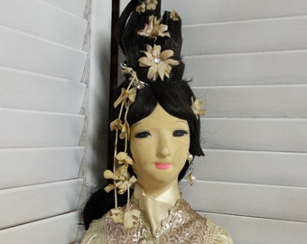 """Asian Doll 27"""" Mid-Century Pink Clothes Collectible Doll"""