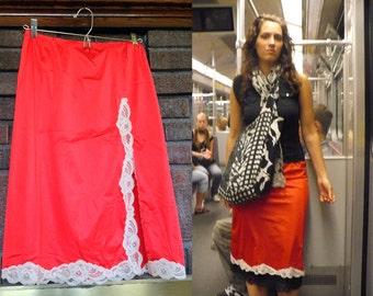 Red Lace Half Slip / Rare Red Slip / Let the Hemline Show / Oh La La / Size S-L