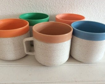 Colorful Vintage Thermal Mugs - Insulated Cups - Vintage RV - Retro Travel Trailer -  Camping - Midcentury - Atomic Decor - Cornish - 1960s