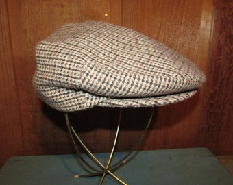 Vintage Houndstooth Cabbie Cap - YA Newsboy Snapbill Cap - Wool Flat Golf Hat - Size Small