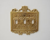 Vintage Brass Triple Light Switch Cover, Coat of Arms, Solid Brass Light Plate, Man Cave Decor