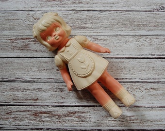 Vintage Creepy Doll, Carol The Color Me Doll, 1964 Eppy Doll, Vinyl 60's Doll, Draw On Doll, Made in The USA