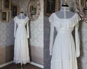1970's Gunne Sax Edwardian / Victorian Style Wedding Dress Small XS