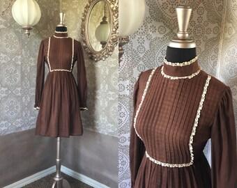 Vintage 1970's Brown Bib Front Mini Dress XS