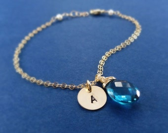TWO BRACELET SET, Friendship bracelets, gemstone bracelets with initials, bridesmaid jewelry, bridesmaid gift, bridal party gift, otis b