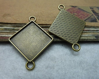 5 pcs 20x20mm Antique Bronze  Cameo Cabochon Base Setting Tray Blanks Pendants Charm Pendant C7841