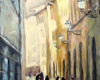 """Italian Landscape Painting- 12 x 16 Original Oil on Canvas, """"Meeting in Firenza"""""""