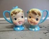Miss Cutie Pie Cream and Sugar Bowl Vintage Anthropomorphic  Blue Cream and Sugar Napco Cream and Sugar Blue Bird Napco Ceramics