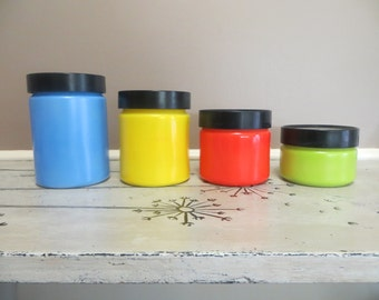 Kitchen Canister Set Milkglass Kitchen Canisters Anchor Hocking Colored Glass Modern Kitchen Red Green Yellow Blue Kitchen Storage Retro