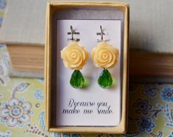 Peach Rose and Green Teardrop Earrings