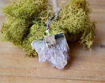 Amethyst Crystal Druzy Silver Necklace