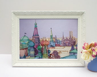 Colourful Moscow illustrated drawing, cityscape, A4 print unframed