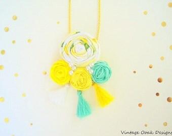 Fabric Tassel Necklace, RosetteTassel Necklace,Boho Chic Necklace, Tassel Necklace,Boho Necklace,Textile Tassel Necklace, Tassel Jewelry