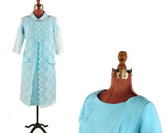 Vintage 1960's Sky Blue Linen + Floral Sheer Lace Shift Cocktail Mod Dress + Jacket Set M