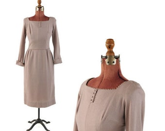 Vintage 1950's Light Tan Taupe Preppy Hourglass All Wool Knit Mid Century Dress Secretary Dress S