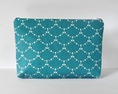 Woman's blue fish scale print padded cosmetics travel make up pouch in teal blue and white XL extra large size.