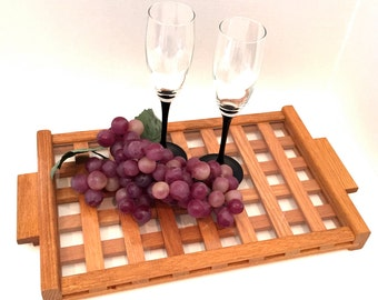 Hot and Cold Serving Tray Solid Red Oak