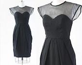1950s Illusion Dress / Little Black Dress / 1950s Black Dress / Black Cocktail Dress /