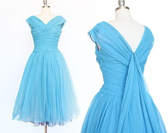 1950s Ruched Party Dress / Low Back with Sash / 1950s Prom Dress / Party Dress / Blue Dress / Gathered Dress / Full Skirt Extra Small Small