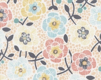 Sale lily Imogen floral cotton fabric cream by Timeless treasures C3777