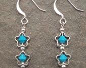 Turquoise Swarovski Crystal Star Earrings