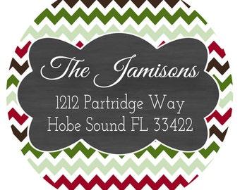 Chevron Return Address Labels, Chalkboard Envelope Seals, Address Label, Christmas Tag, Envelope Labels, Holiday Gift Tag, 24 STICKERS (537)