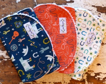 Burp Cloths OR Baby Bibs - Boy - Wild West Collage, Ropes & Horseshoes - Set of 3 - Blue, Coral Orange, Aqua