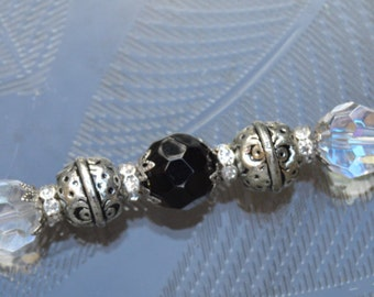 Silver and Black Colored Beaded Bracelet