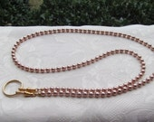 Rose Gold Beaded Lanyard Swarovski Pearl Lanyard Rose Gold Lanyard Necklace ID Badge Holder