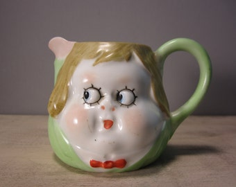 Nippon Creamer, Nippon Baby Face Creamer or Milk Pitcher Peek-a-Boo Childs Face Googly Eyes Design by Chloe Preston Hand Painted with Face