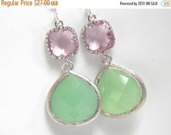 SALE Silver Green Mint Earrings, Light Green, Pink Earrings, Light Pink, Rose, Wedding, Bridesmaid Earrings, Bridal Jewelry, Bridesmaid Gift