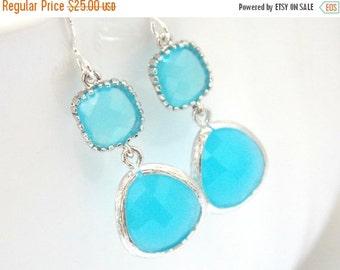 SALE Blue Earrings, Glass Earrings, Silver Earrings, Aqua, Ocean Blue, Aquamarine, Bridesmaid Earrings, Bridal Earrings Jewelry, Bridesmaid