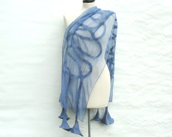 Nuno Felted Shawl, Silk wool scarf - hand-felted and hand painted  scarf, felted flowers, blue scarf