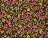 C2045A - 145cmx100cm Cotton Fabric - flower and branch on black background