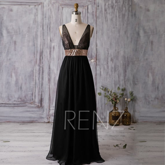 Black Rose Wedding Dresses : Black bridesmaid dress rose gold sequin wedding deep v