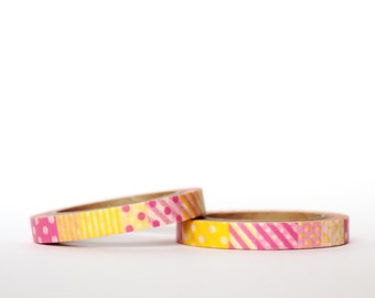 Slim Pink and Yellow Pattern Washi Tape