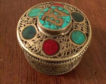 Beautiful semiprecious inlaid Tibetan box