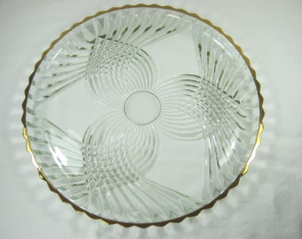 Vintage GOLD RIM CAKE Plate Glass Platter Indiana Glass Colony Royal Ornate Pattern