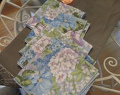 5 Shabby chic  multi colored blue flowered cottage, shabby dining room table napkins