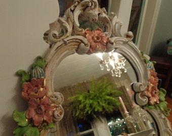 Shabby chic, romantic wall shelf mirror