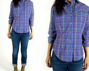 SUMMER CLEARANCE SALE Vintage 1970s Thick Cotton Purple Plaid Western Wear Button Down Boyfriend Shirt Size S