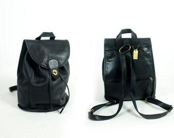 Vintage Coach Black Leather Extra Large Turnlock Drawstring Top Handle Backpack Daypack Rucksack