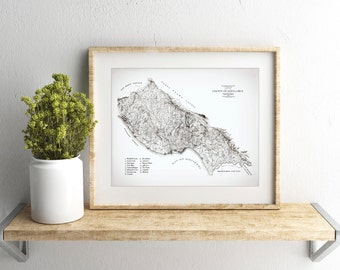 Santa Cruz, Surf Spot Map, Vintage Illustration, County of Santa Cruz, Map Art Print