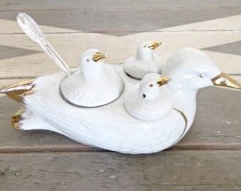 French Retro Condiment Set - Souvenir of the 60s - Porcelain Condiment Set - Porcelain Seagull