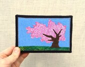 Little Cherry Tree, 4x6 inch canvas, freehand applique fiber art, all recycled fabrics, sewn on a 1968 Singer, ready to hang