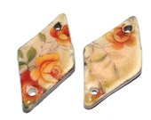 Unusual Ceramic Peach Rose Earring Charms Pair Rustic Stoneware Pottery Floral