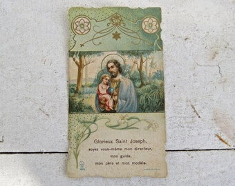 Antique French Holy Prayer Card - Pastel Colors - Easter - Saint Joseph and Jesus