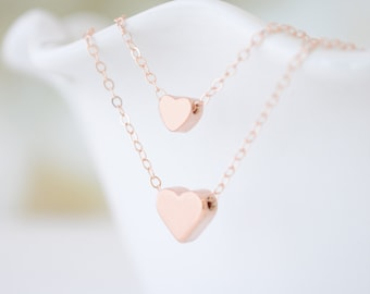 Layered Heart Necklace Set - Mother Daughter Heart Layered Necklaces - 1115R